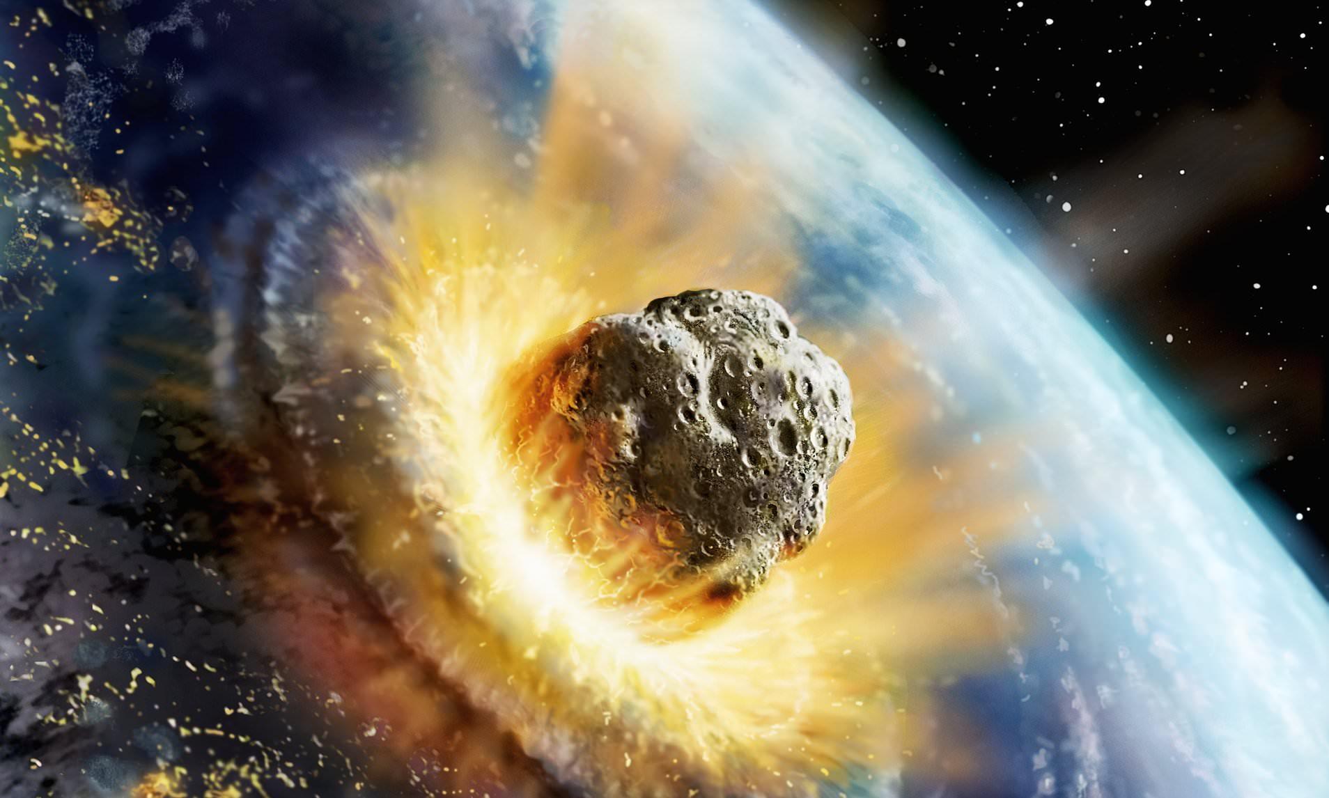 imagen de la tierra y meteorito extincion